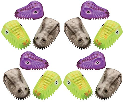 Foam Child's Molded Dinosaur Hats Bulk, Pack of 12 Costume Headwear for Kids Boys Girls & Adults, Perfect Halloween Party Favors, 3 Styles, Elastic Strap Attached, 4E's Novelty ()