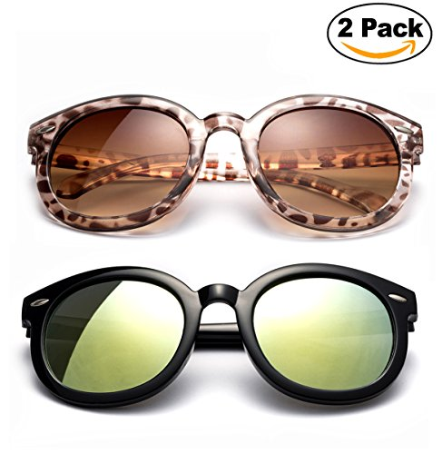 Newbee Fashion - Kyra Girls Fashion Sunglasses Round Vintage Trendy Kids Sunglasses UV Protection Cateye Large - Wholesale Trendy Sunglasses