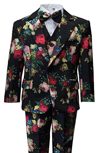 (Gele Boy Floral Formal Dress Suit,Slim Fit Luxury 6 Pieces Set with Waist Cummerbund (7, Black))