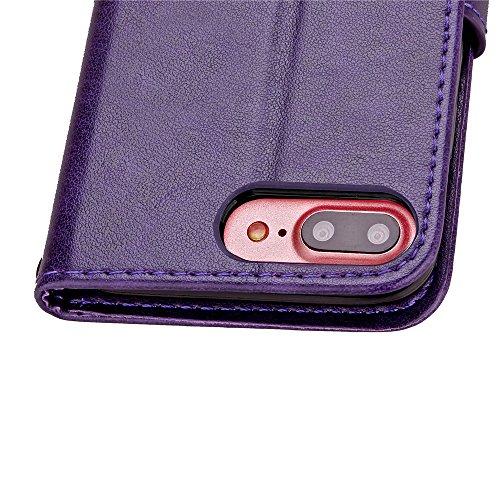 Voguecase® Pour Apple iPhone 7 Plus Coque, Étui en cuir synthétique chic avec fonction support pratique pour Apple iPhone 7 Plus (Trèfle à quatre feuilles-Pourpre)de Gratuit stylet l'écran aléatoire u