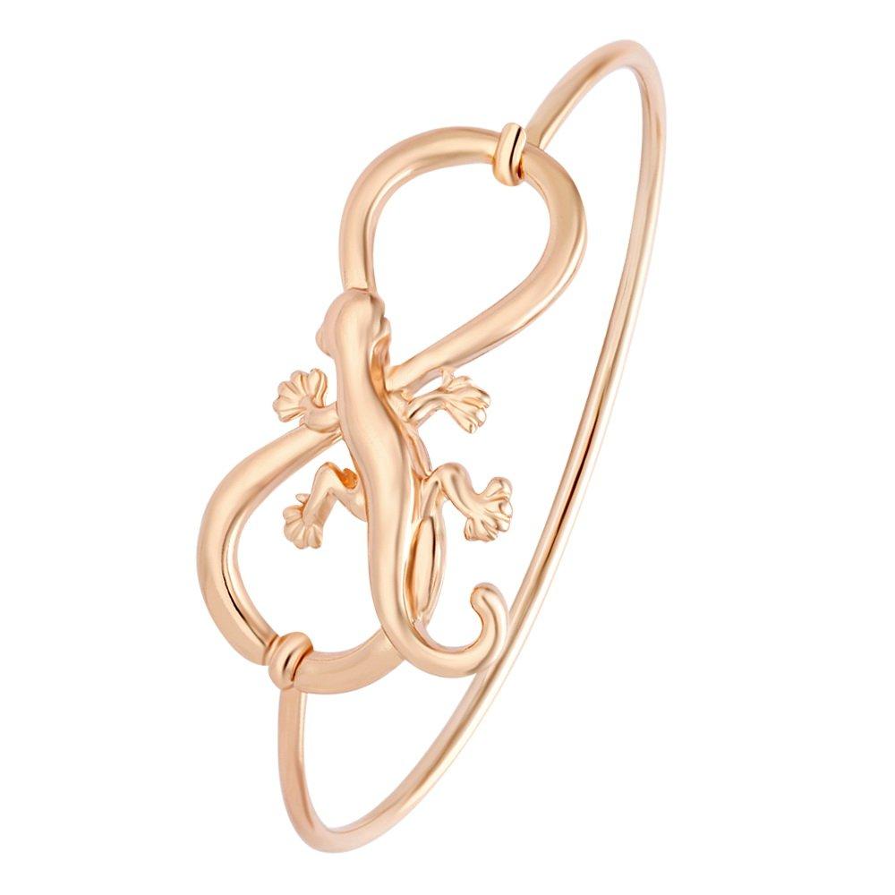NOUMANDA Animal Jewelry Easy Open Infinity with Lizard Gecko Hook Bangle Bracelet