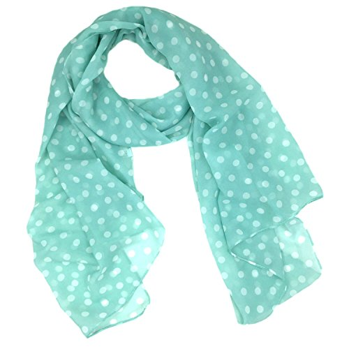 - Fashionable Polka Dots Soft Chiffon Scarf - Mint Blue
