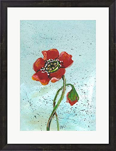 - Poppies II by Molly Susan Strong Framed Art Print Wall Picture, Espresso Brown Frame, 20 x 26 inches