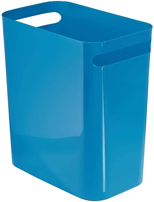 "mDesign Slim Plastic Rectangular Large Trash Can Wastebasket, Garbage Container Bin, Handles for Bathroom, Kitchen, Home Office, Dorm, Kids Room - 12"" High, Shatter-Resistant - Blue"