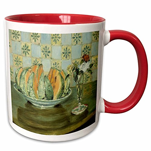3dRose BLN Food and Dining Fine Art Collection - Nature morte au melon et au vase de fleurs by Pierre-Auguste Renoir, 1883-15oz Two-Tone Red Mug -
