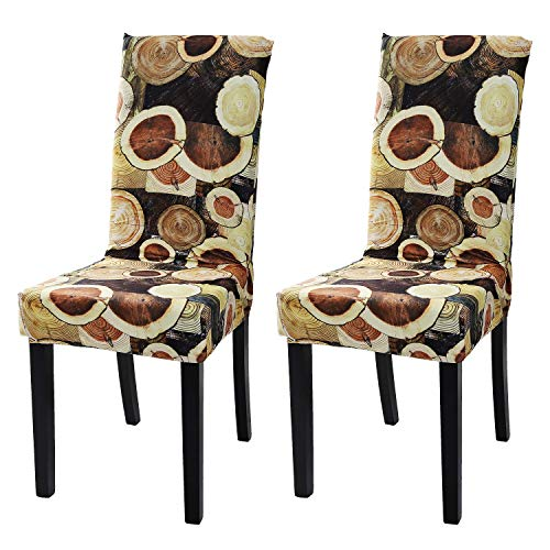 Argstar 2 Pack Chair Covers, Stretch Armless Chair Slipcover for Dining Room Seat Cushion, Spandex Kitchen Parson Chair Protector Cover, Removable & Washable, Timber Design