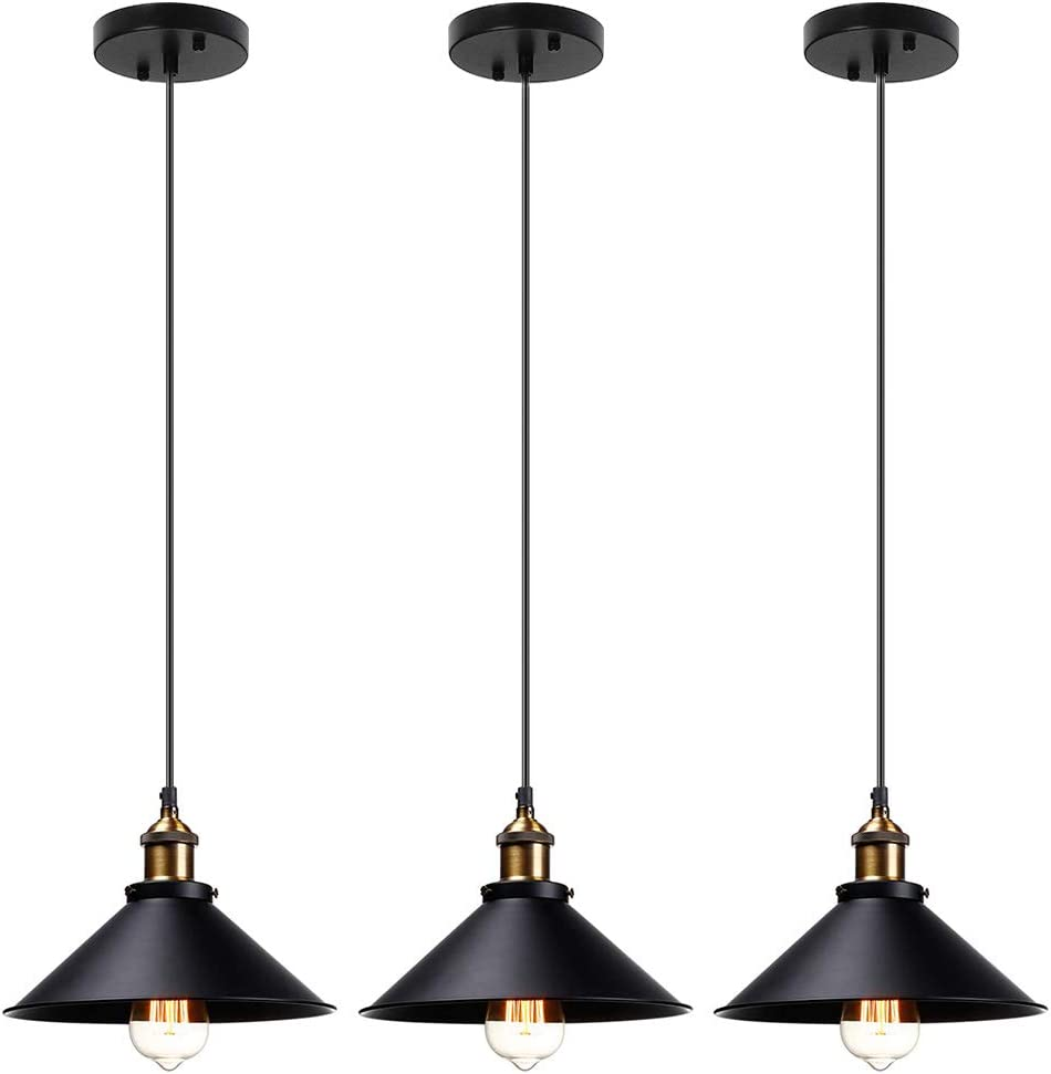 LAMPUNDIT Industrial Metal Pendant Lighting, Height-Adjustable E26 Rustic Hanging Light Fixture for Dining Room 3-Pack