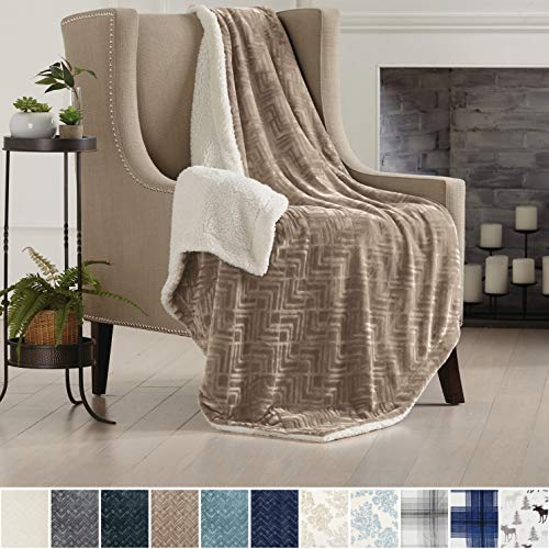 Home Fashion Designs Premium Reversible Two-in-One Sherpa and Sculpted Velvet Plush Luxury Blanket. Fuzzy, Cozy, All-Season Berber Fleece Throw Blanket Brand. (Taupe)