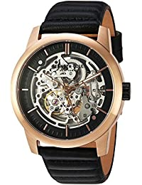 Men's ' Automatic Stainless Steel and Leather Dress Watch, Color:Black (Model: 10030789)