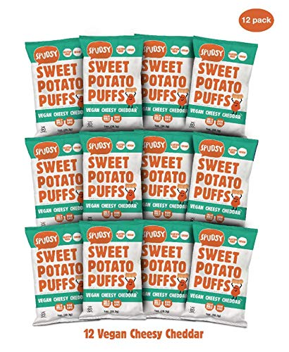 Spudsy Sweet Potato Puffs | 12 Pack | 1 oz Bags | Vegan, Gluten Free, Kosher, Allergen Free, Plant-Based | Made With Upcycled Sweet Potatoes (Cheesy Cheddar, 12 Pack) ()