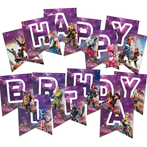 (Happy Birthday Banner for Party Decorations - Premium Pre-assembled Reusable Eco-friendly Fun - Video Game Birthday Party Supplies - Superhero Nite Favors Gaming for Kids, Boys, and Adults Gamer Night)