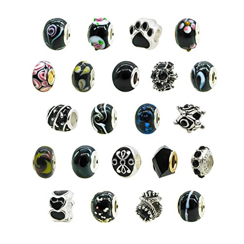 TOAOB Assorted Black Glass European Style Bead Fits Charm Bracelets Pack of 20pcs (Ornament European Blown Glass)