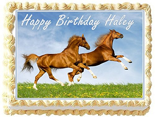 Horses Personalized Edible Cake Topper Image - 1/4 Sheet