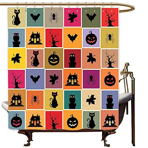 Travel Shower Curtain Vintage Halloween Bats Cats Owls Haunted Houses in Squraes Halloween Themed Darwing Art Bathroom Curtain Washable Polyester W60x72L -