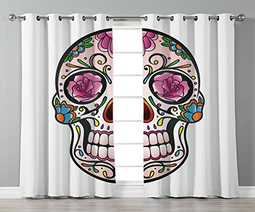 Stylish Window Curtains,Sugar Skull Decor,Spooky Sugar Skull with Pink Roses Twigs Blooms Teeth Smile Halloween Decorative,Multicolor,2 Panel Set Window Drapes,for Living Room Bedroom Kitchen -