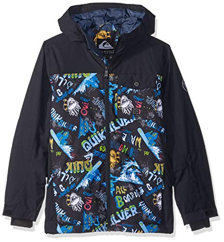 Quiksilver Boys' Big Mission Block Youth 10k Snow Jacket, Black a Night at The Mountain, -