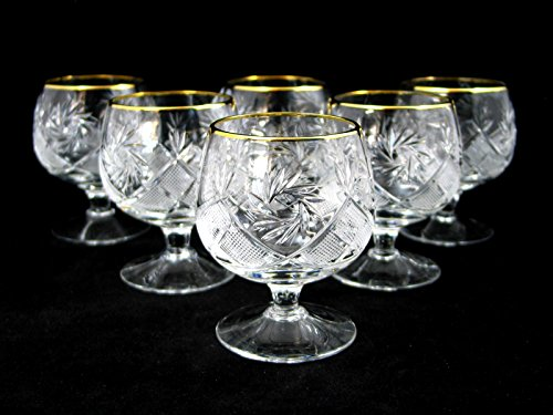 SET of 6 Russian Cut Crystal Cognac Scotch Whiskey Stemmed Snifter Goblet Glass 24K Gold Rimmed 10 Oz. Vodka Liquor Old-fashioned Glassware Hand Made by Neman Crystal (Image #1)