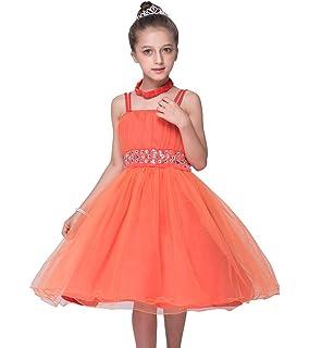 85a6c508d TOPJIN Rhinestones Embellished Tulle Braces Skirt Flower Girls Wedding  Party Dresses