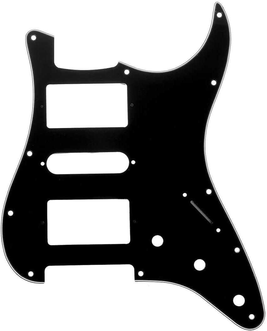 Musiclily Pro 11 Agujeros HSH Strat Pickguard Golpeador para Guitarra Fender American/México Standard Stratocaster Estilo Moderno, 3 capas Negro