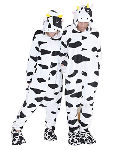 Duraplast Funny Adult Costume Animal Onesies Pajamas Teens Home Loungewear XL (Cow Costumes)