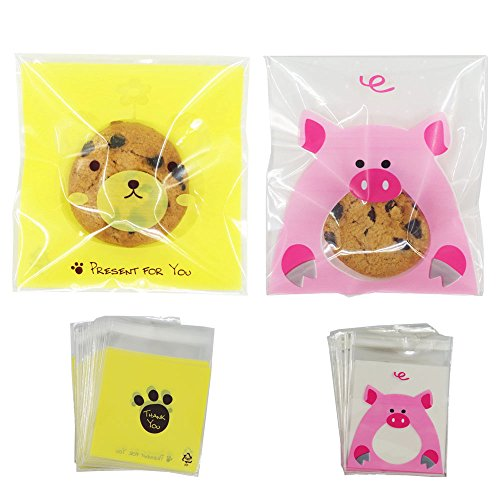 Self Adhesive Cookie Treat Bags for Gift Giving 200PCS Resealable Cellophane Bags for Candy Birthday Party Decorative Accessories (3.9inches)