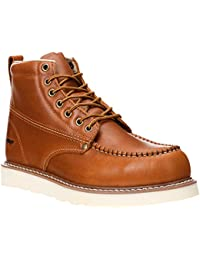 """Work Boots 6"""" Men's Moc Toe Wedge Comfortable Boot for Construction"""