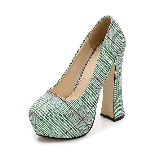 Women's Pointed Toe Slip On High Chunky Heel Plaid Pattern Platform Pumps Green Tag 38 - US B(M) 7 (Heel Womens Plaid High)