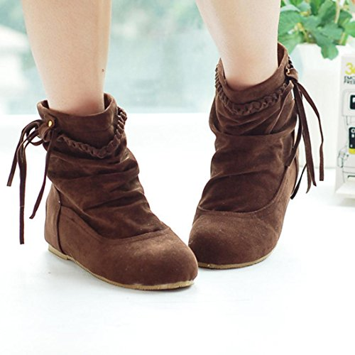 Women Martin Shoes Tassel Heels Inkach Snow Low Brown Ankle Winter Boots Warm Boots 6A51dqw