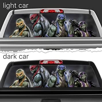 Teenage mutants ninja turtles perforated vinyl decal rear window car n572 frst 22x56