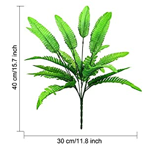 Hicarer 6 Bunches Artificial Boston Ferns Plants 21 Leaves Per Bunch Fake Bushes for Indoor Outside Home Garden Wedding Party Decor 2
