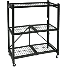Origami General Purpose Steel Storage Rack with Wheels, 3-Shelf, Small