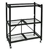 Cheap Origami General Purpose Steel Storage Rack with Wheels, 3-Shelf, Small