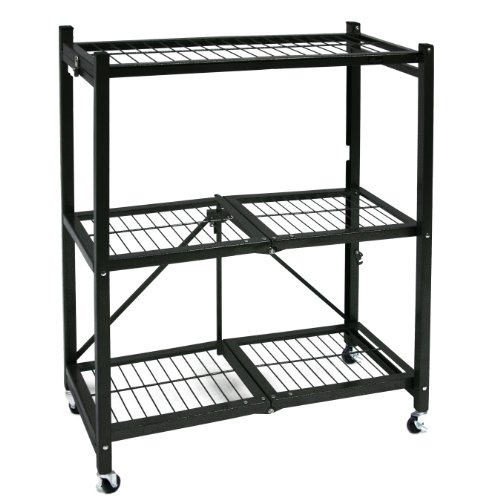 Origami General Purpose Steel Storage Rack with Wheels, 3-Shelf, Small (Small Open Shelf Unit compare prices)