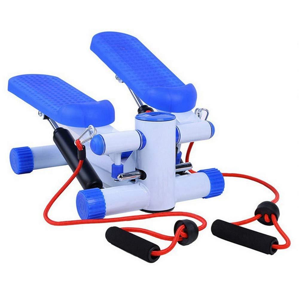 ミニバイク、腕と脚 家庭用アップダウンミニステッパー、トレーニングロープ付きホームトレーナー運動用ステッパーマシン 弾性バンド付きステッパー (色 : 青)  青 B07M8Z2KH3