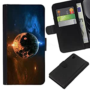 Protector de cuero de la PU de la cubierta del estilo de la carpeta del tirón BY RAYDREAMMM - Sony Xperia Z1 L39 - Space Planet