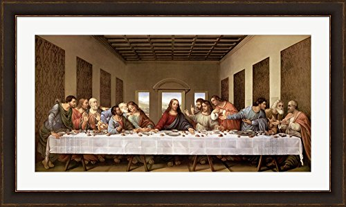 The Last Supper by Leonardo Da Vinci Framed Art Print Wall Picture, Brown Gold Frame with Hanging Cleat, 45 x 27 inches by Great Art Now
