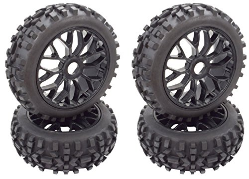 Buggy 1/8 Off Road - Apex RC Products 1/8 Off-Road Buggy Black Mesh Wheels & Attack Tires - Set Of 4 #6040