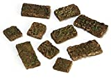 Aged Brick Pathway Stones by Falcon Miniatures. Designed for the 1:12 scale miniature setting. Measurements : Smallest - 3/8 inches wide. Largest - 7/8 inches wide. Coverage : 2 square inches.