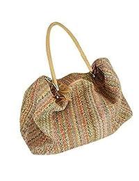Top Shop Womens Rainbow Handmade Tassels Crochet Straw Woven Handbag Shoulder Tote Beach Bag