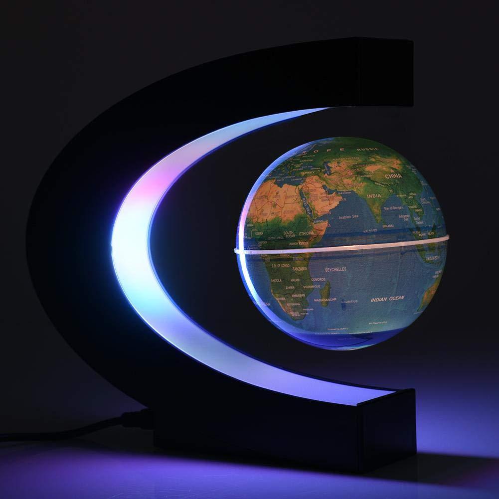 Levitazione magnetica galleggiante globo forme girante la mappa del mondo con luci LED Earth Globe per scrivania decorazione di Natale regalo di compleanno UK Plug Blue