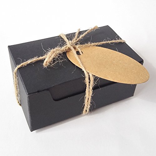 Gold-Furtune 50PCS Rectangle Gift Wrapping Kraft Paper Box With Tags & Hemp Rope Cardboard Paper Soap Box (Black Box With Brown Tags)
