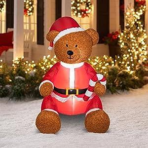 Amazon.com: CHRISTMAS AIRBLOWN INFLATABLE TEDDY BEAR WITH FUZZY ...