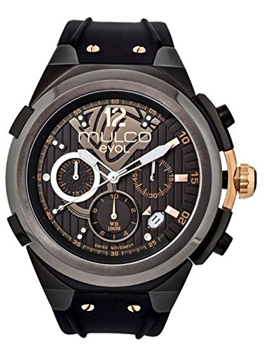 Mulco Evol Engine Quartz Swiss Chronograph Movement Men's Watch | Premium Analog Display with Rose Gold Accents | Silicone Watch Band | Water Resistant Stainless Steel Watch (Black/Brown) ()