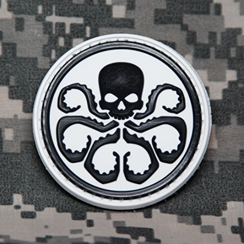 MARVEL COMICS Captain America Hydra Logo PVC Morale Patch - Rubber Morale Patch, Hook Backed by NEO Tactical Gear (Black and White)