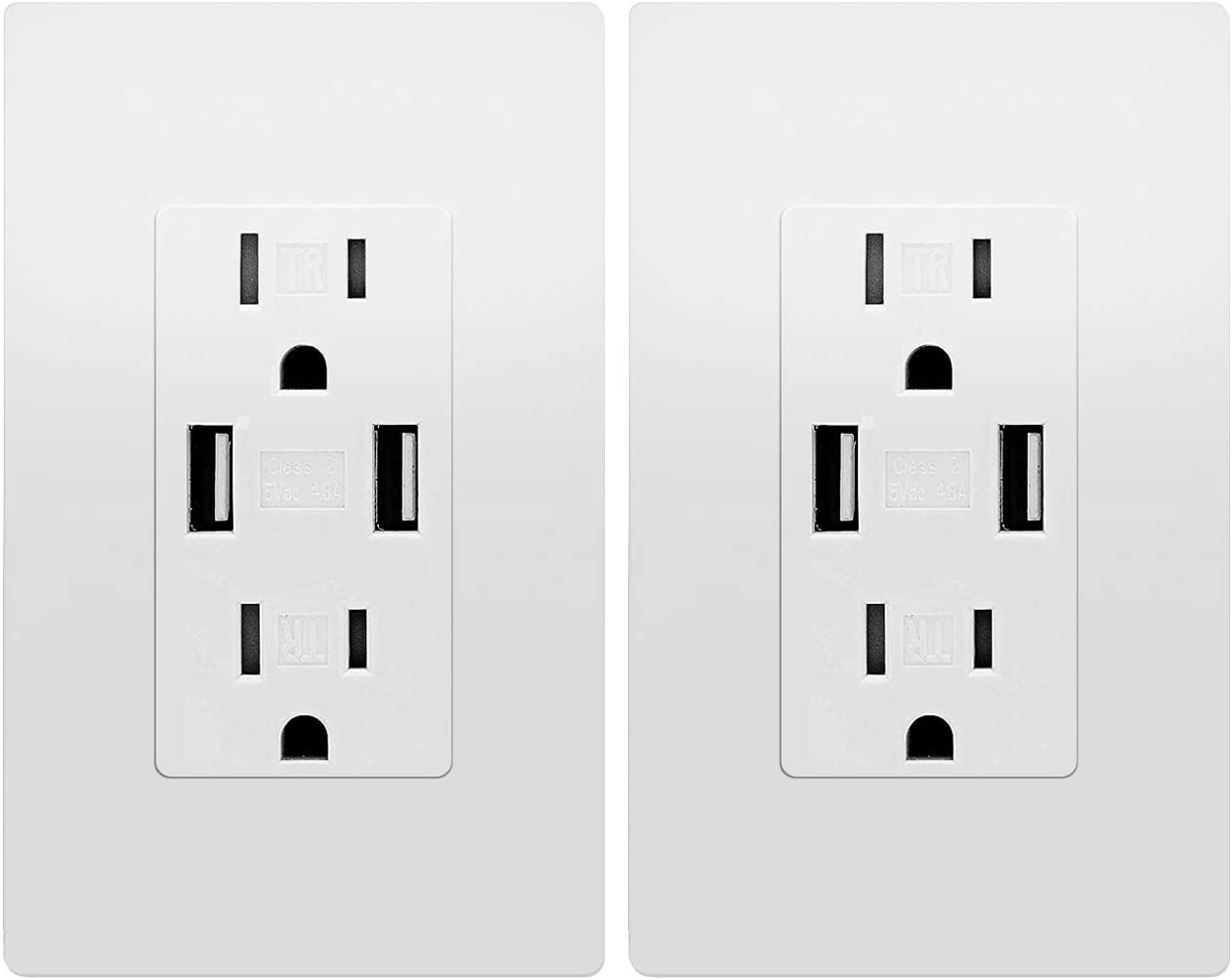 USB Outlet, Wall Charger Dual High Speed Duplex Receptacle 15 Amp, Smart 4.8A Quick Charging Capability, Tamper Resistant Outlet Wall Plate Included UL Listed White MICMI C48, 4.8A USB outlet 2pack