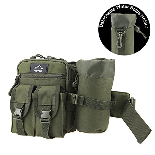 - HETTO Tactical Fanny Pack Waist Pack Belt Bag Hip Sack Pouch Waterproof 1000D Nylon with Water Bottle Holder MOLLE for Outdoor Hiking Hunting Fishing Camping Traveling
