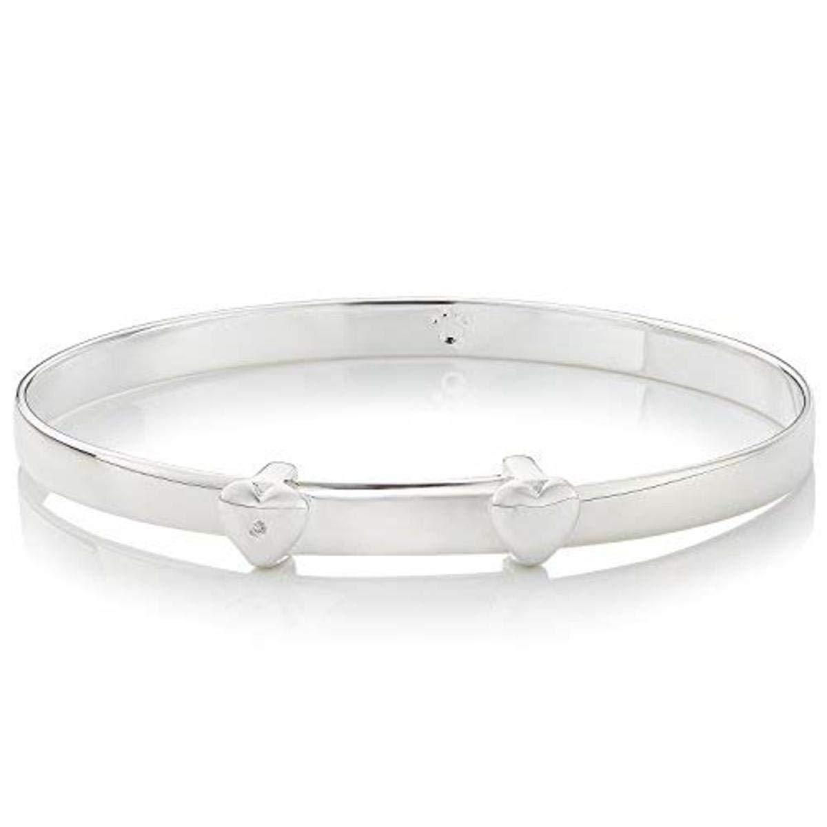 Molly B London 925 Sterling Silver Baby's First Diamond Baptism Bangle - Perfect Newborn Jewelry Arrives with Luxury Gift Box