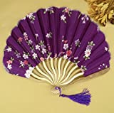 Purple Japanese Chinese Handmade Pocket Fan Flower Blossoms Cloth Folding Hand Fan Gifts For Women Girls