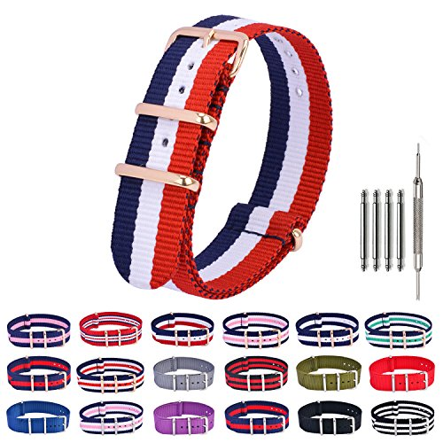 Nylon Watch Bands Rose Gold NATO Watch Strap Replacement Fabric Ballistic Military 18mm 20mm 22mm Blue Red (Yellow Gold Pebble)