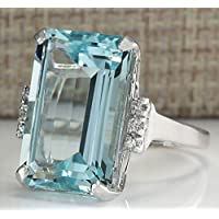Women Large 7.69CT Aquamarine 925 Sterling Silver Wedding Ring Jewelry Gift (8)